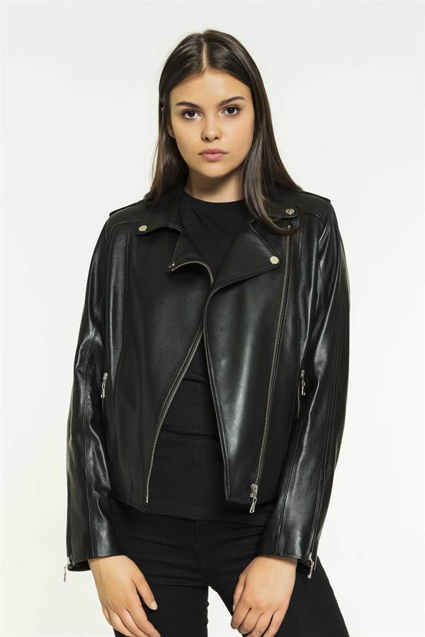 SARA Women Biker Black Leather Jacket