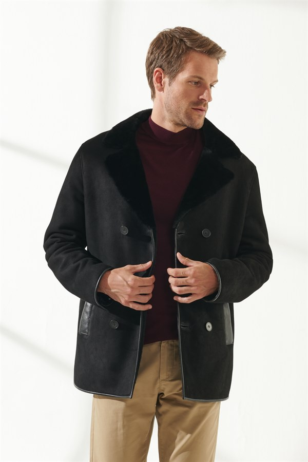 JEFF Men Casual Black Shearling Coat