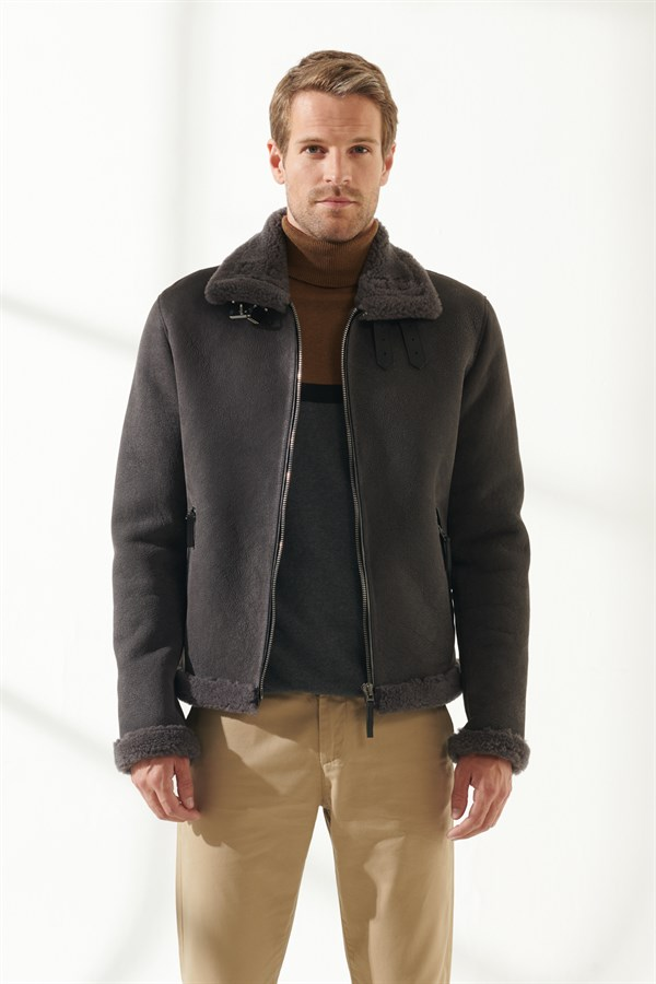 MEN'S SHEARLING JACKETBARBOSA Men Aviator Grey Shearling Jacket