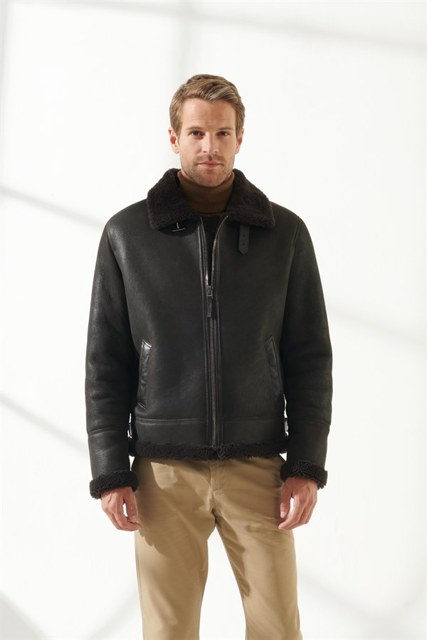 BRUCE Men Aviator Brown Shearling Jacket