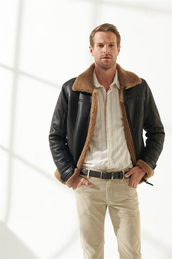 LIAM Men Casual Toffee Shearling Jacket