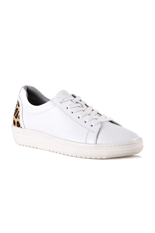 Jasmine White-Leopard Leather Women Sneaker