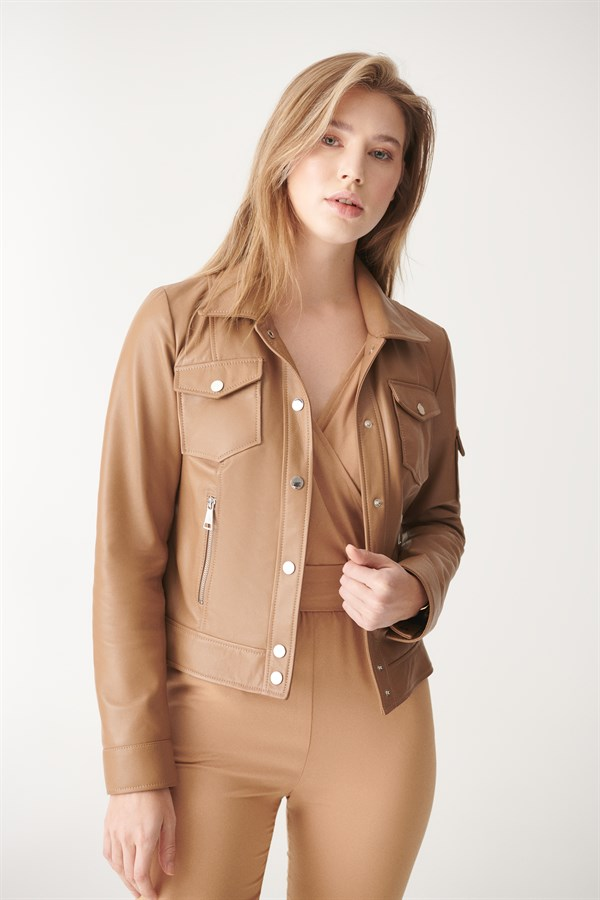 DEMI Light Brown Sport Leather Jacket