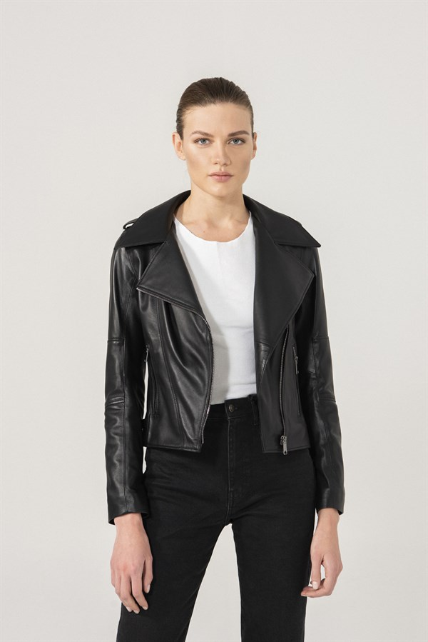 WOMEN'S LEATHER JACKETLILY Women Biker Black Leather Jacket