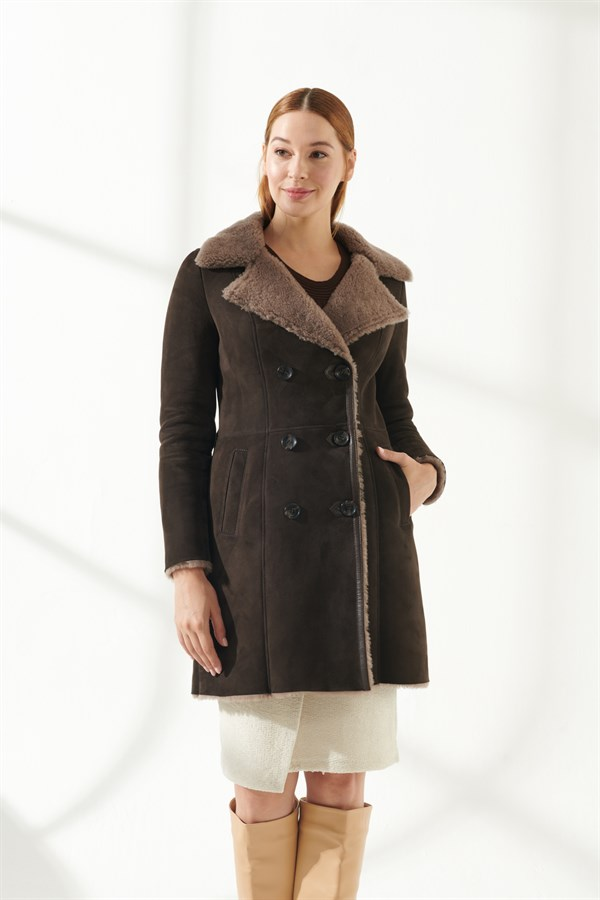 SANDRA Women Casual Brown Shearling Coat