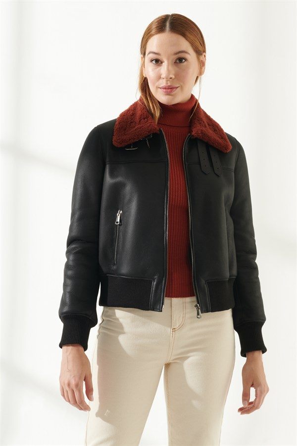 DIANA Women Casual Black&Brick Shearling Jacket