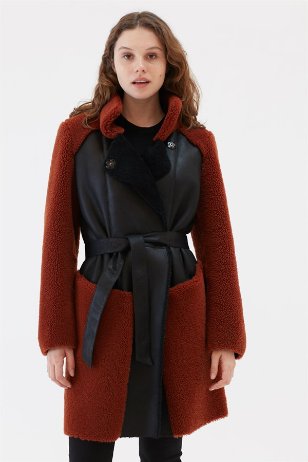 FARAH Women Casual Black&Brick Shearling Coat