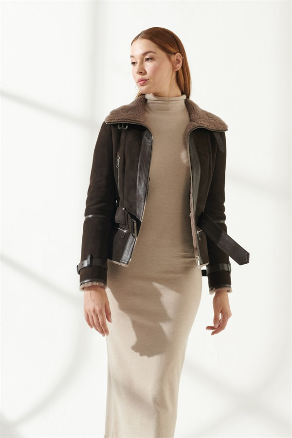 MENDY Women Casual Brown Shearling Jacket