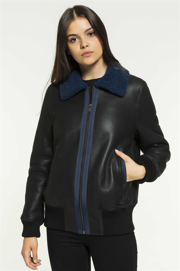MILA Women College Black&Admiral Shearling Jacket