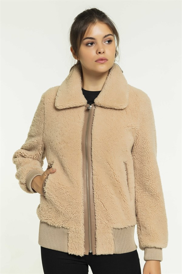 NELA Women College Salmon Shearling Jacket