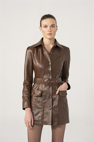 Bianca Women Brown Leather Dress