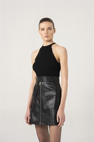 Isabel Women Black Leather Skirt
