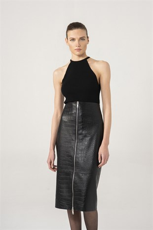 Jenna Women Croco Patterned Black Leather Skirt