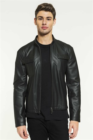 ADRIAN Men Sport Black Leather Jacket