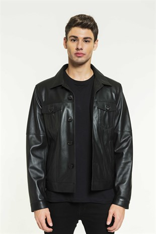 JACK Men Sport Black Leather Jacket