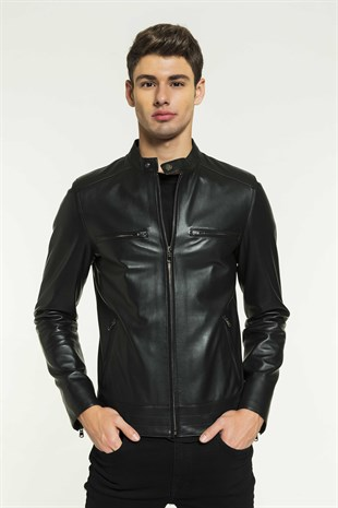 RICK Men Sport Black Leather Jacket