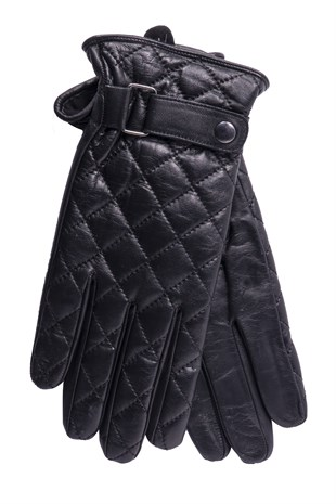 Quilted Mens Leather Gloves