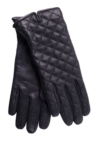 Quilted Womens Leather Gloves