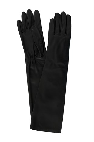 Long Sleeve Leather Black Glove