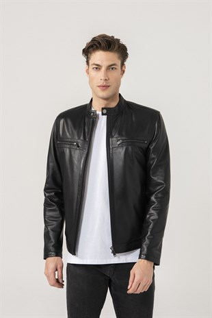 Alonso Men Sports Black Leather Jacket