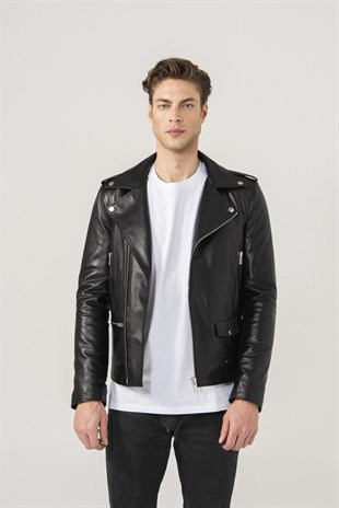 Andrey Men Biker Black Leather Jacket