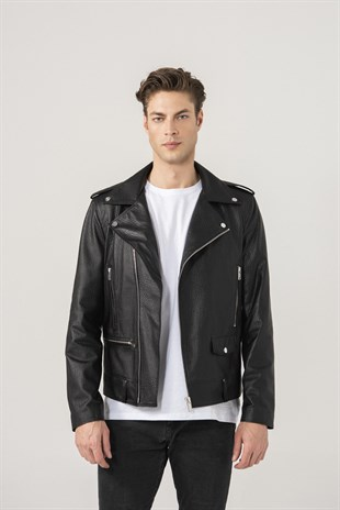 Andrey Men Biker Black Patterned Leather Jacket