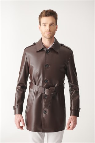 MEN'S LEATHER JACKETBRIAN Claret Red Trench Coat Leather Coat