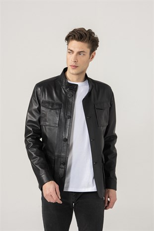 Carlos Men Sports Black Leather Jacket