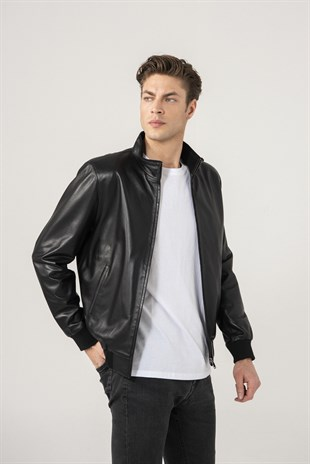 Cedric Men Sports Black Leather Jacket