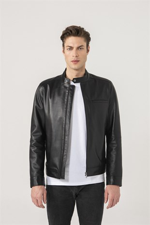 Christian Men Sports Black Leather Jacket