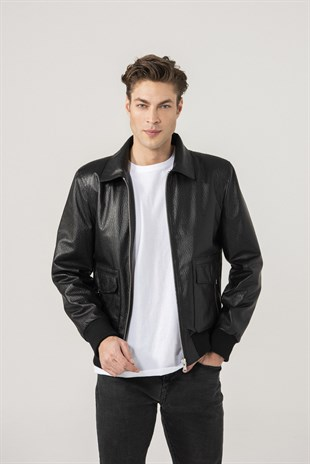 MEN'S LEATHER JACKETFrank Men Sports Patterned Black Leather Jacket