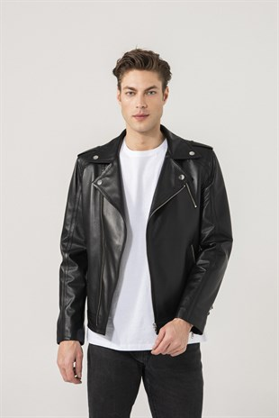 LEON Men Biker Black Leather Jacket