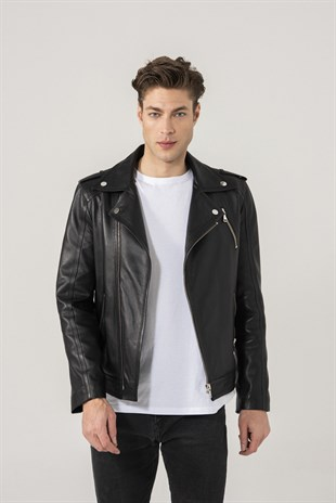 LEON Men Biker Black Ohio Leather Jacket