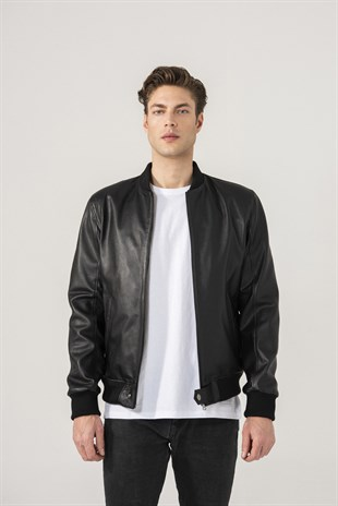 MANUEL Men College Black Jumbo Leather Jacket