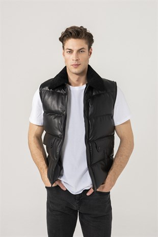 Owen Men Sports Black Leather Vest