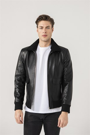 TOMMY Men College Black Leather Jacket