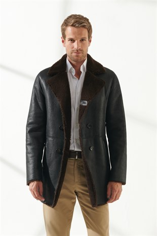CHARLES Men Casual Tobacco Brown Shearling Coat