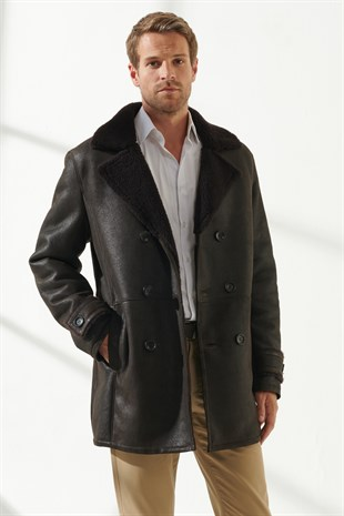 GEORGE Men Casual Brown Shearling Coat