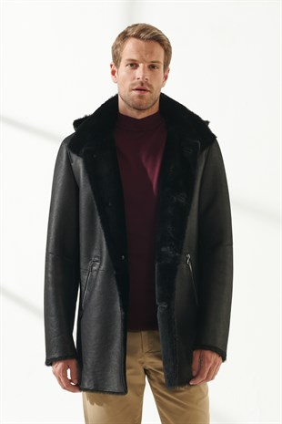 JASON Men Casual Black with Patterned Shearling Coat