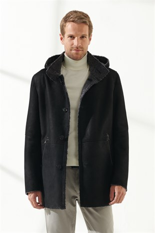 JASON Men Casual Black Shearling Coat