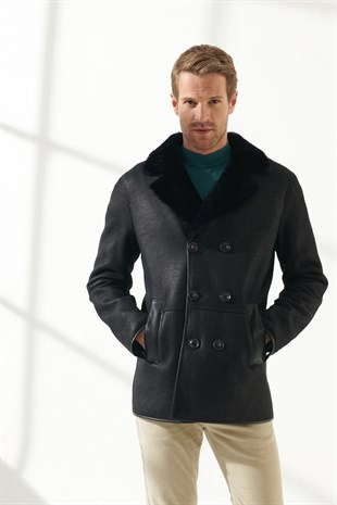 JEFF Men Casual Navy Blue Shearling Coat