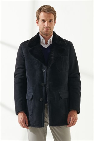 KEVIN Men Casual Navy Blue Shearling Coat