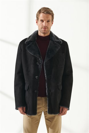 KEVIN Men Casual Black Shearling Coat