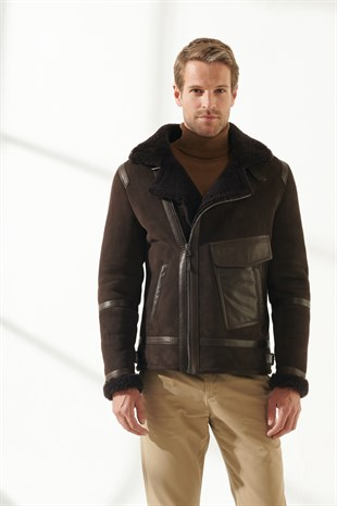 AGUSTO Men Aviator Brown Shearling Jacket