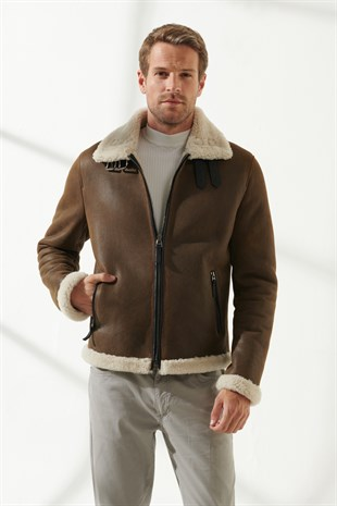 BARBOSA Men Aviator Tan&Off-White Shearling Jacket