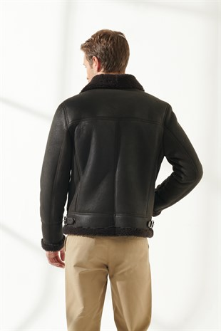 MEN'S SHEARLING JACKETBRUCE Men Aviator Brown Shearling Jacket