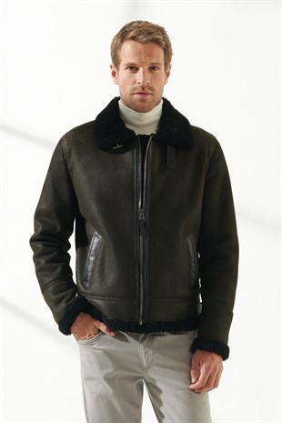 BRUCE Men Aviator Dark Green Shearling Jacket