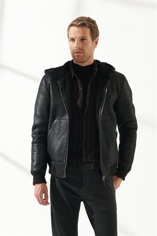 MEN'S SHEARLING JACKETCRUZ Men Sport Black Shearling Jacket