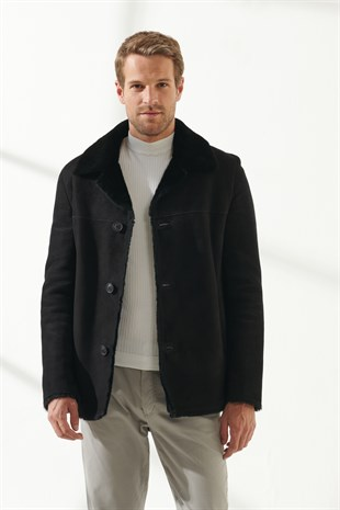 DENNIS Men Casual Black Shearling Jacket