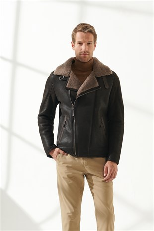 JOE Men Biker Brown Shearling Jacket